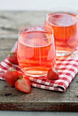 Strawberry cordial and fresh strawberries