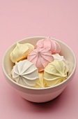 Pastel-colored meringue cookies