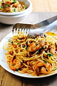 Linguine pasta with spicy chili and sun dried tomato sauce