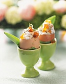 Stuffed eggs filled with crab meat and chum salmon caviar