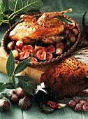 Roast pheasant with figs