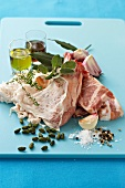 Ingredients from rabbit pie with pistachios