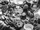 Large Ingredient Still Life with Spices and Fruit; Black and White