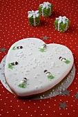 Heart Shaped Christmas Cake with Snowman Decorations