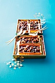 Mini tarts with dried fruits and caramel