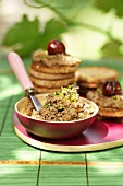 Chicken liver spread with pistachios and slices of toast