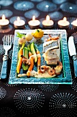 Turbot with a prawn sauce and vegetables