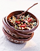 Chickpea salad with dried tomatoes and chilli peppers