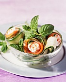 Cucumber rolls filled with smoked salmon and goat's cream cheese