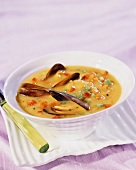 Mussel soup with vegetables