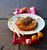 Mango pie with goose liver for Christmas dinner