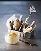 Sardine tempura with a dip