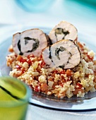Tabbouleh with chicken roulade