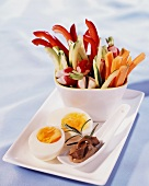 Raw vegetables with anchovies and egg
