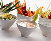 Vegetable crudités with three different dips
