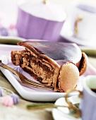 A slice of fudge cake