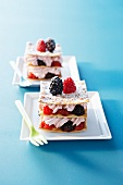Mille feuilles with fruits of the forest and cream