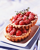 Two raspberry tartlets