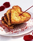 Heart-shaped French toast for Valentine's Day