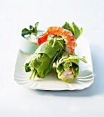 Lettuce roulade with avocado and king prawns