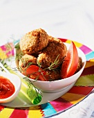 Chickpea dumplings with tomatoes