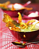 Cabbage soup with vegetable chips