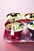 Rose tiramisu with blackberries