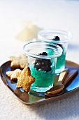 Blueberry sorbet and star-shaped biscuits