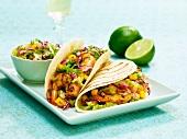 Shrimp Tacos with Mango Lime Salsa; On Soft Tortillas