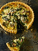 Spinach and Onion Quiche with Gruyere and Parmesan; Slice Removed