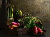 Assorted Fresh Vegetables; Asparagus, Artichoke, Rainbow Swiss Chard and Cactus Pear