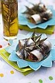 Sardine rolls and olive oil