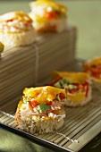Crab and mango canapés