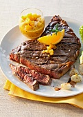 Beef steak with grilled onions and chutney