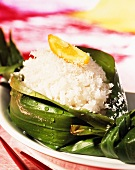 Coconut rice in a banana leaf