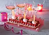 A raspberry cake for a 25th birthday