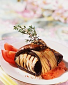 Aubergine parcels filled with goat's cream cheese