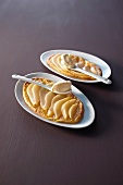 Pear tarts on two plates