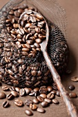 Roasted coffee beans in a net with a wooden spoon
