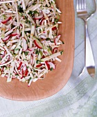 Celery, Apple and Radish Salad with Mustard Seed in a Serving Bowl; From Above