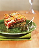 Slice of Heirloom Tomato, Basil Pesto and Cheese Strata