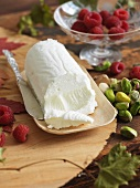 Goat Cheese Log with Pistachios and Raspberries