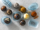 Nine Gourmet Chocolate Truffles in Candy Papers