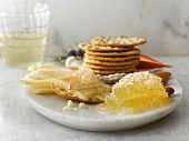 Parmesan Cheese Plate with Crackers, Honeycomb and Apple Slices