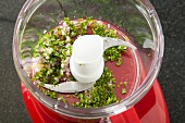 Herbs Pulsed in a Food Processor; Step for Making Salsa