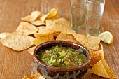 Bowl of Tomatillo Salsa with Tortilla Chips