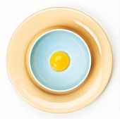 Egg Yolk in a Bowl on a Plate; From Above