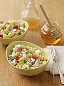 Rotini Pasta and Feta Cheese Salad; Honey and Dressing