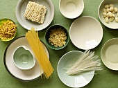 Variety of Dried Pastas and Bowls; From Above