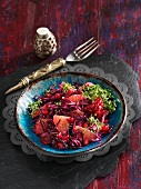 Exotic red cabbage salad with pomegranate seeds